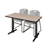 "Cain 48"" x 24"" Training Table- Beige & 2 Zeng Stack Chairs- Grey"