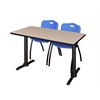 "Cain 48"" x 24"" Training Table- Beige & 2 'M' Stack Chairs- Blue"