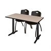 "Cain 48"" x 24"" Training Table- Beige & 2 'M' Stack Chairs- Black"