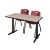 "Cain 48"" x 24"" Training Table- Beige & 2 'M' Stack Chairs- Burgundy"