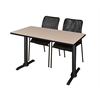 "Cain 48"" x 24"" Training Table- Beige & 2 Mario Stack Chairs- Black"