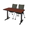 "Cain 48"" x 24"" Training Table- Cherry & 2 Apprentice Chairs- Black"