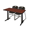 "Cain 48"" x 24"" Training Table- Cherry & 2 Zeng Stack Chairs- Black"