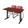 "Cain 48"" x 24"" Training Table- Cherry & 2 Zeng Stack Chairs- Burgundy"