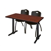 "Cain 48"" x 24"" Training Table- Cherry & 2 'M' Stack Chairs- Black"