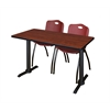 """Cain 48"""" x 24"""" Training Table- Cherry & 2 'M' Stack Chairs- Burgundy"""