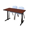 "Cain 48"" x 24"" Training Table- Cherry & 2 'M' Stack Chairs- Grey"