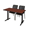 "Cain 48"" x 24"" Training Table- Cherry & 2 Mario Stack Chairs- Black"
