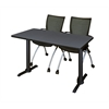 "Cain 48"" x 24"" Training Table- Grey & 2 Apprentice Chairs- Black"