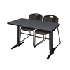 "Cain 48"" x 24"" Training Table- Grey & 2 Zeng Stack Chairs- Black"
