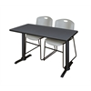 "Cain 48"" x 24"" Training Table- Grey & 2 Zeng Stack Chairs- Grey"