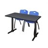 "Cain 48"" x 24"" Training Table- Grey & 2 'M' Stack Chairs- Blue"