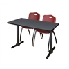 "Cain 48"" x 24"" Training Table- Grey & 2 'M' Stack Chairs- Burgundy"