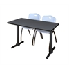 """Cain 48"""" x 24"""" Training Table- Grey & 2 'M' Stack Chairs- Grey"""