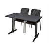 "Cain 48"" x 24"" Training Table- Grey & 2 Mario Stack Chairs- Black"