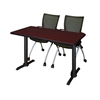"""Cain 48"""" x 24"""" Training Table- Mahogany & 2 Apprentice Chairs- Black"""