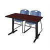 """Cain 48"""" x 24"""" Training Table- Mahogany & 2 Zeng Stack Chairs- Blue"""