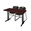 "Cain 48"" x 24"" Training Table- Mahogany & 2 Zeng Stack Chairs- Black"