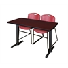 "Cain 48"" x 24"" Training Table- Mahogany & 2 Zeng Stack Chairs- Burgundy"