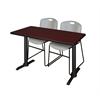 "Cain 48"" x 24"" Training Table- Mahogany & 2 Zeng Stack Chairs- Grey"