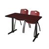 "Cain 48"" x 24"" Training Table- Mahogany & 2 'M' Stack Chairs- Burgundy"