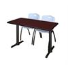 "Cain 48"" x 24"" Training Table- Mahogany & 2 'M' Stack Chairs- Grey"