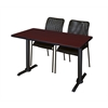 "Cain 48"" x 24"" Training Table- Mahogany & 2 Mario Stack Chairs- Black"
