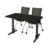 "Cain 48"" x 24"" Training Table- Mocha Walnut & 2 Apprentice Chairs- Black"