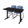 "Cain 48"" x 24"" Training Table- Mocha Walnut & 2 Zeng Stack Chairs- Blue"