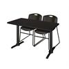 "Cain 48"" x 24"" Training Table- Mocha Walnut & 2 Zeng Stack Chairs- Black"
