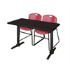 "Cain 48"" x 24"" Training Table- Mocha Walnut & 2 Zeng Stack Chairs- Burgundy"