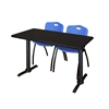 "Cain 48"" x 24"" Training Table- Mocha Walnut & 2 'M' Stack Chairs- Blue"