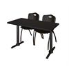 "Cain 48"" x 24"" Training Table- Mocha Walnut & 2 'M' Stack Chairs- Black"