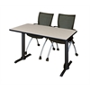 "Cain 48"" x 24"" Training Table- Maple & 2 Apprentice Chairs- Black"