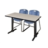 "Cain 48"" x 24"" Training Table- Maple & 2 Zeng Stack Chairs- Blue"