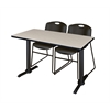 "Cain 48"" x 24"" Training Table- Maple & 2 Zeng Stack Chairs- Black"