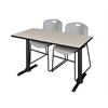 "Cain 48"" x 24"" Training Table- Maple & 2 Zeng Stack Chairs- Grey"