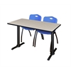 "Cain 48"" x 24"" Training Table- Maple & 2 'M' Stack Chairs- Blue"