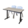 "Cain 48"" x 24"" Training Table- Maple & 2 'M' Stack Chairs- Grey"