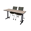 "Cain 60"" x 24"" Training Table- Beige & 2 Apprentice Chairs- Black"