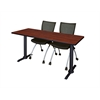 "Cain 60"" x 24"" Training Table- Cherry & 2 Apprentice Chairs- Black"