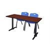 "Cain 60"" x 24"" Training Table- Cherry & 2 'M' Stack Chairs- Blue"