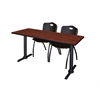 """Cain 60"""" x 24"""" Training Table- Cherry & 2 'M' Stack Chairs- Black"""