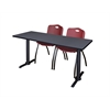 "Cain 60"" x 24"" Training Table- Grey & 2 'M' Stack Chairs- Burgundy"