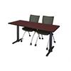 """Cain 60"""" x 24"""" Training Table- Mahogany & 2 Apprentice Chairs- Black"""