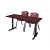 "Cain 60"" x 24"" Training Table- Mahogany & 2 'M' Stack Chairs- Burgundy"
