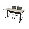 "Cain 60"" x 24"" Training Table- Maple & 2 Apprentice Chairs- Black"