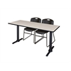 "Cain 60"" x 24"" Training Table- Maple & 2 Zeng Stack Chairs- Black"