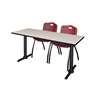 "Cain 60"" x 24"" Training Table- Maple & 2 'M' Stack Chairs- Burgundy"