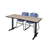 "Cain 66"" x 24"" Training Table- Beige & 2 Zeng Stack Chairs- Blue"